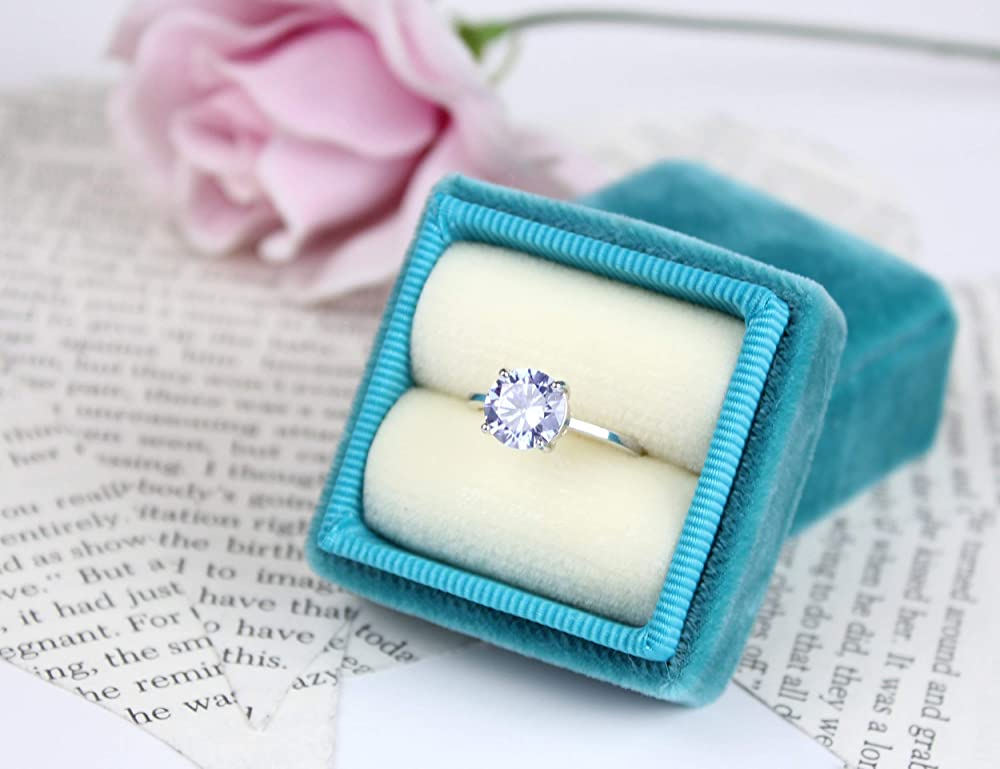Luxury Vintage Design Soft Leather Ring Box Gift Box Turquoise Blue