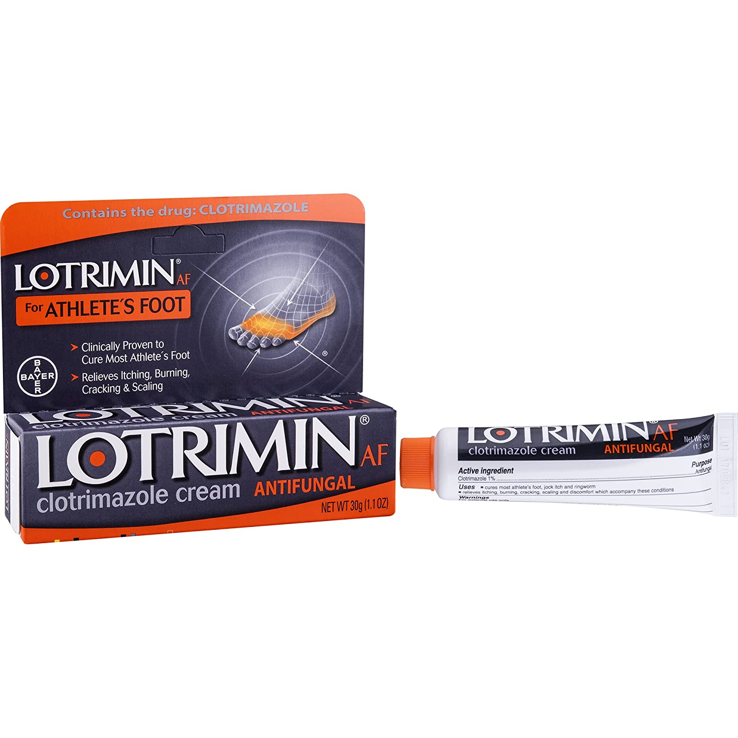 Lotrimin AF Cream for Athlete's Foot, Clotrimazole 1% Antifungal Treatment, Clinically Proven Effective Antifungal Treatment of Most AF, Jock Itch and Ringworm, Cream, 1.1 Ounce (30 Grams) 41100408969