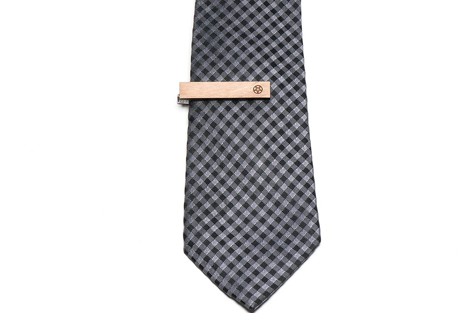 Wooden Accessories Company Wooden Tie Clips with Laser Engraved Satanism Design Cherry Wood Tie Bar Engraved in The USA