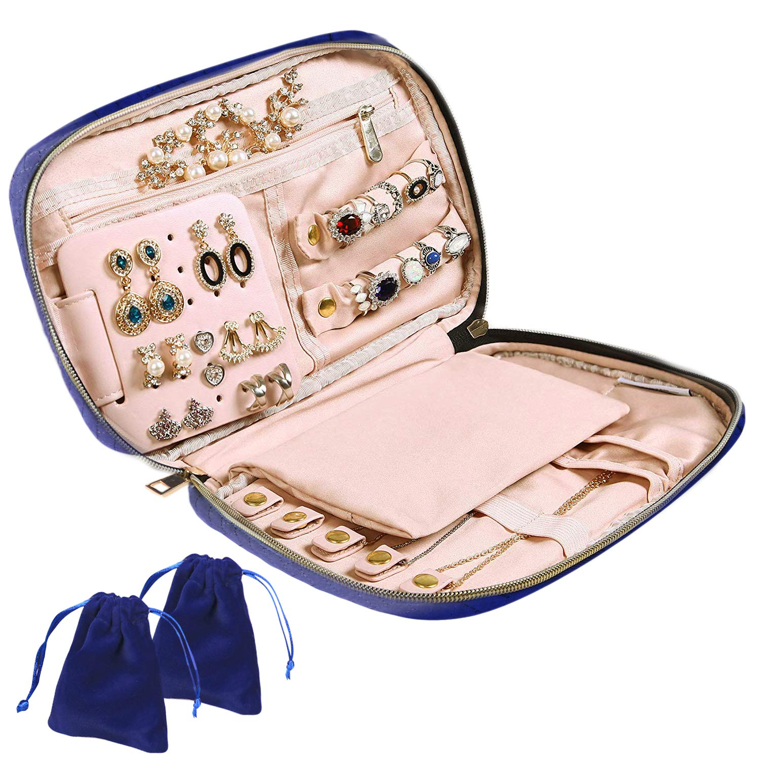 PANTIPINKY Jewelry Case Organizer Travel for Necklaces Rings Earrings Bracelet, Jewelry Storage Bag Containers and Display, Drawstring Pouch Purse for Jewelry Collection