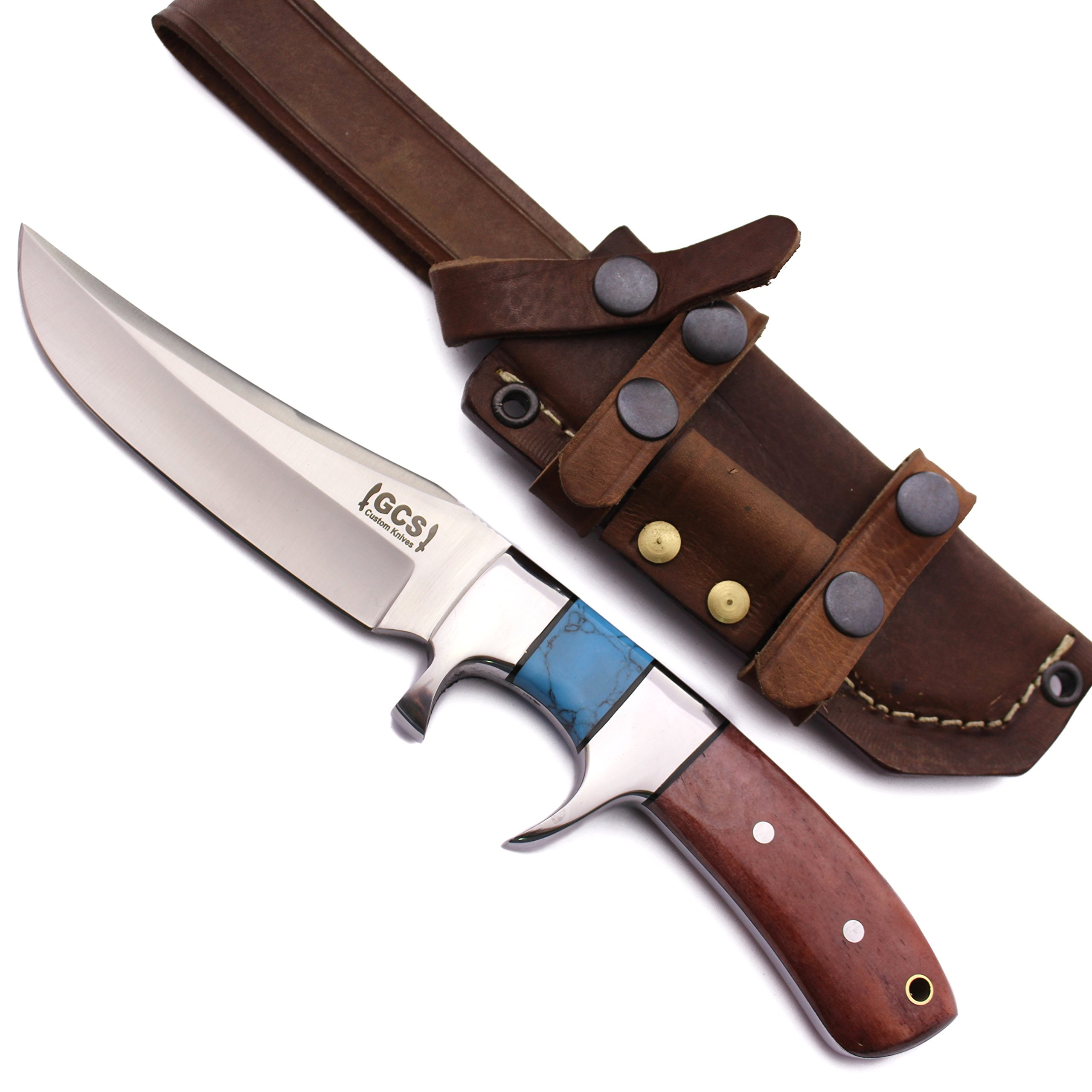 GCS Custom Handmade Coloured Bone & Turquoise Handle D2 Tool Steel Knife & Buffalo Hide Sheath 186
