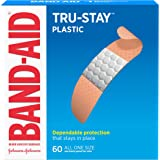 Band-Aid Brand Tru-Stay Plastic Strips Adhesive Bandages for Wound Care and First Aid, All One Size, 60 ct