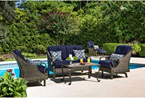 Hanover VENTURA4PC-NVY Ventura 4-Piece Patio Set, Navy Blue Outdoor Furniture
