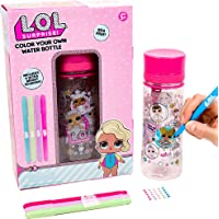 L.O.L. Surprise Color Your Own Water Bottle By Horizon Group Usa,DIY Bottle Coloring Craft Kit, BPA Free, Decorate Your Glitter Water Bottle With Colorful Markers & Gemstones, Multi Colored