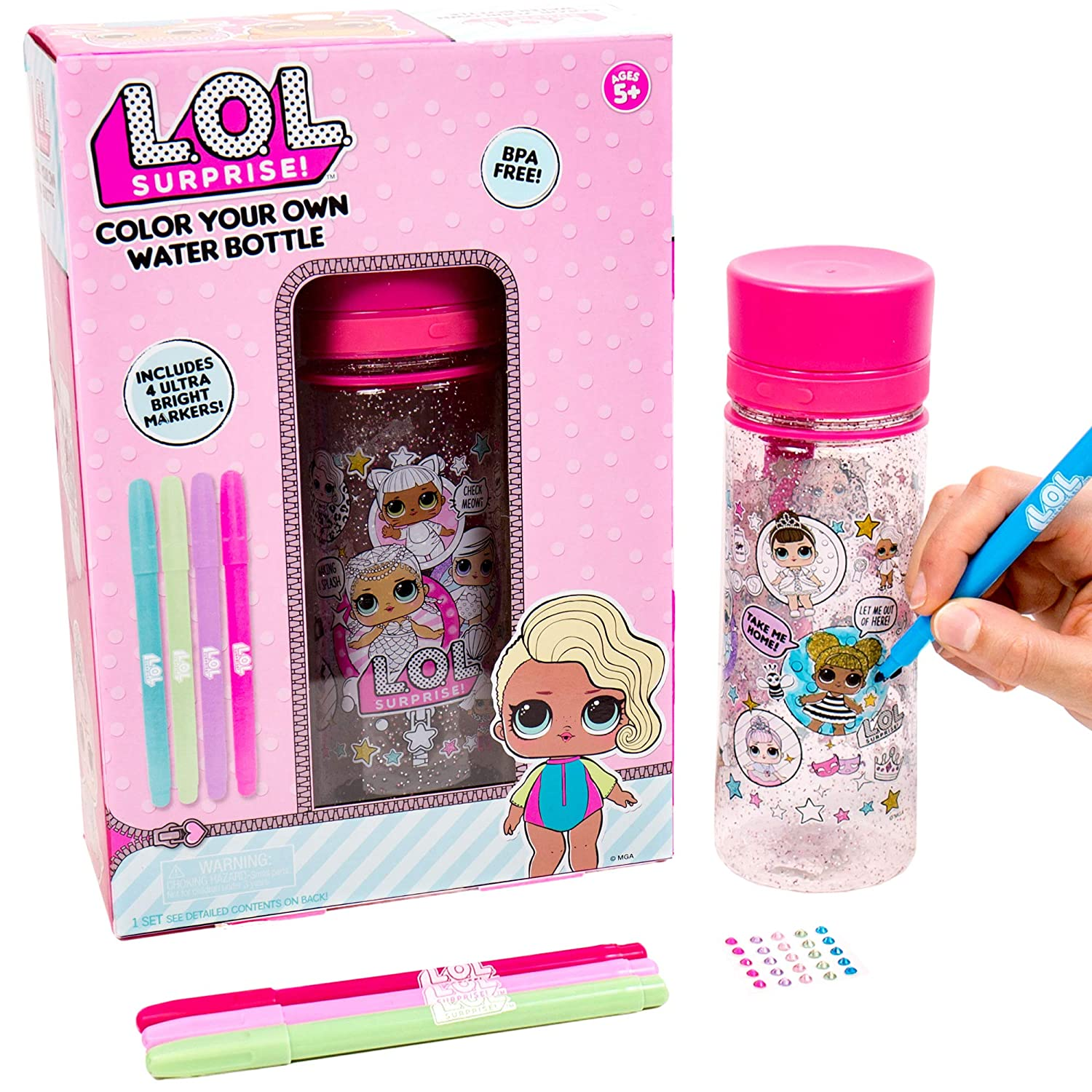 LOL Surprise Color Your Own Water Bottle by Horizon Group USADIY Bottle Coloring Craft Kit BPA Free