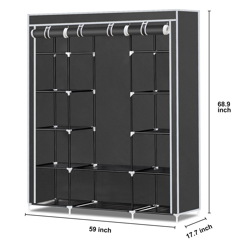 Non-Woven Fabric Wardrobe Clothes Storage Organizer Black5 HERRON Portable Clothes Closet Black 59-Inch
