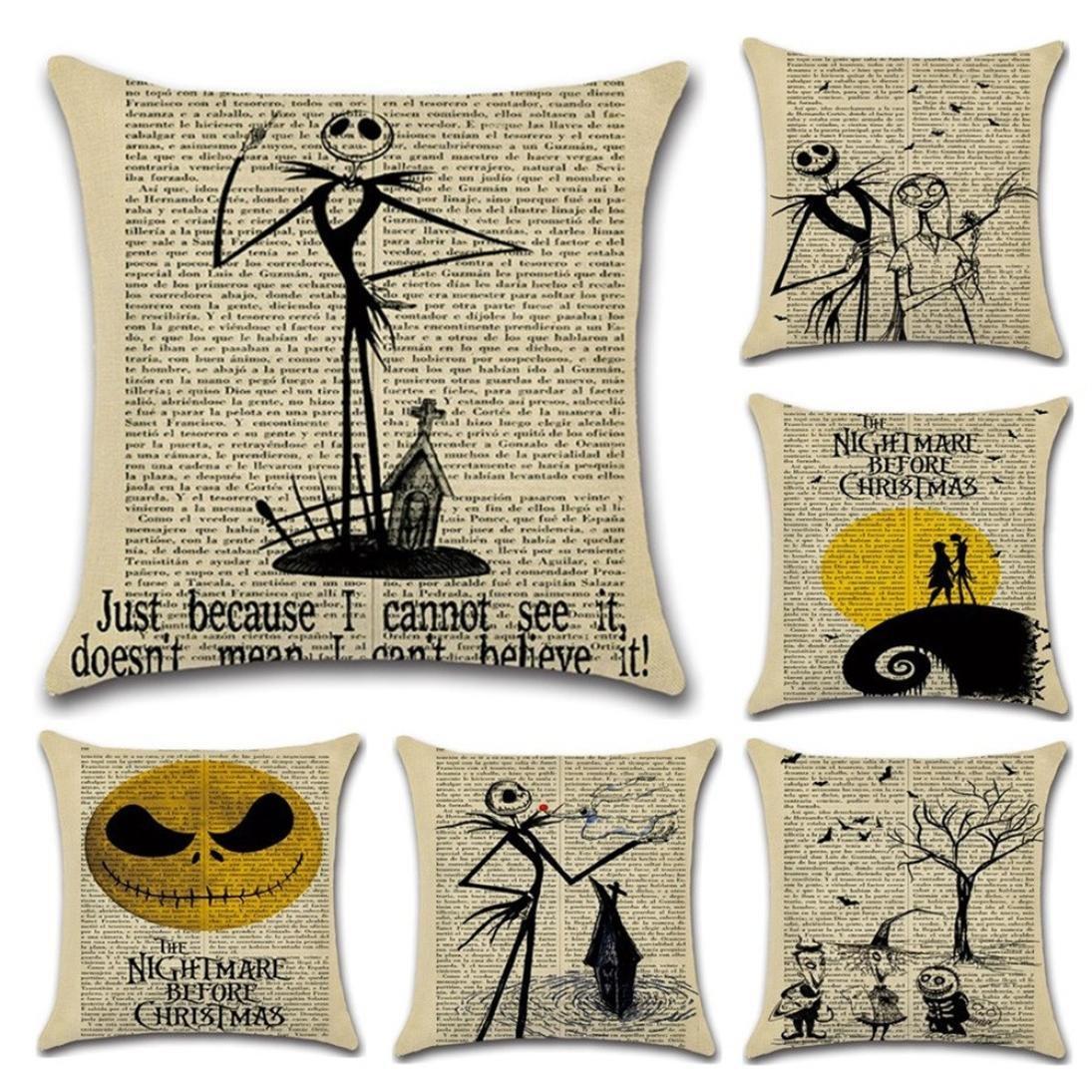 paymenow feliz Halloween carta impreso fundas de almohada de lino sofá almohada decoración para el hogar: Amazon.es: Hogar