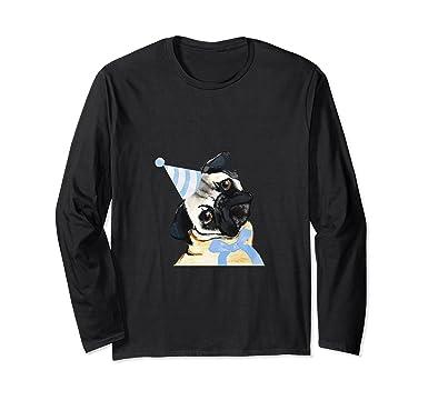Amazon Pug Dog Happy Birthday Hat Long Sleeve Shirt Gift Clothing
