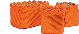 product image for Heritage Lace Mode Crochet Rectangle Baskets with Crochet Edge, Orange, Set of 3