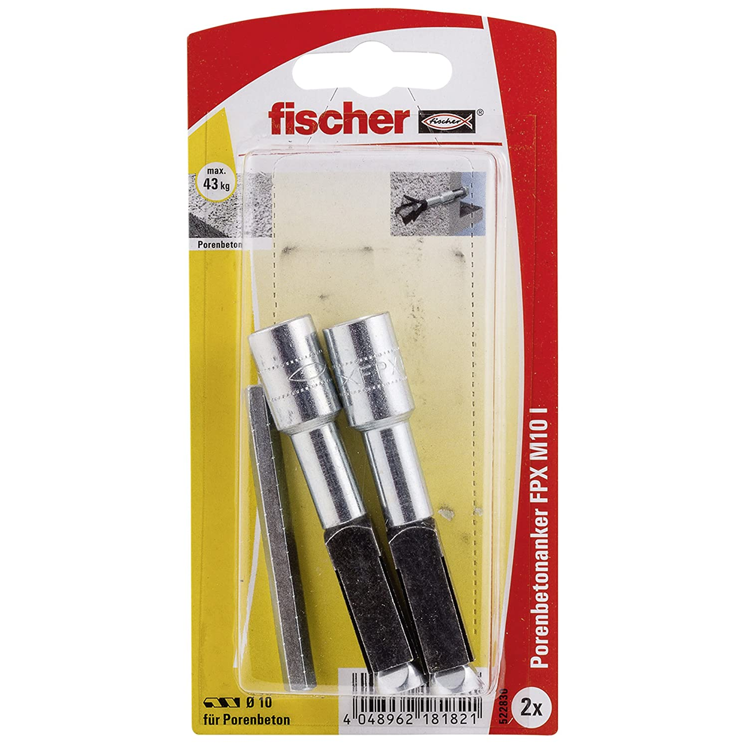 Fischer 522830 FPX-I M10 Cellular Concrete Anchor - Multi-Colour (2-Piece)