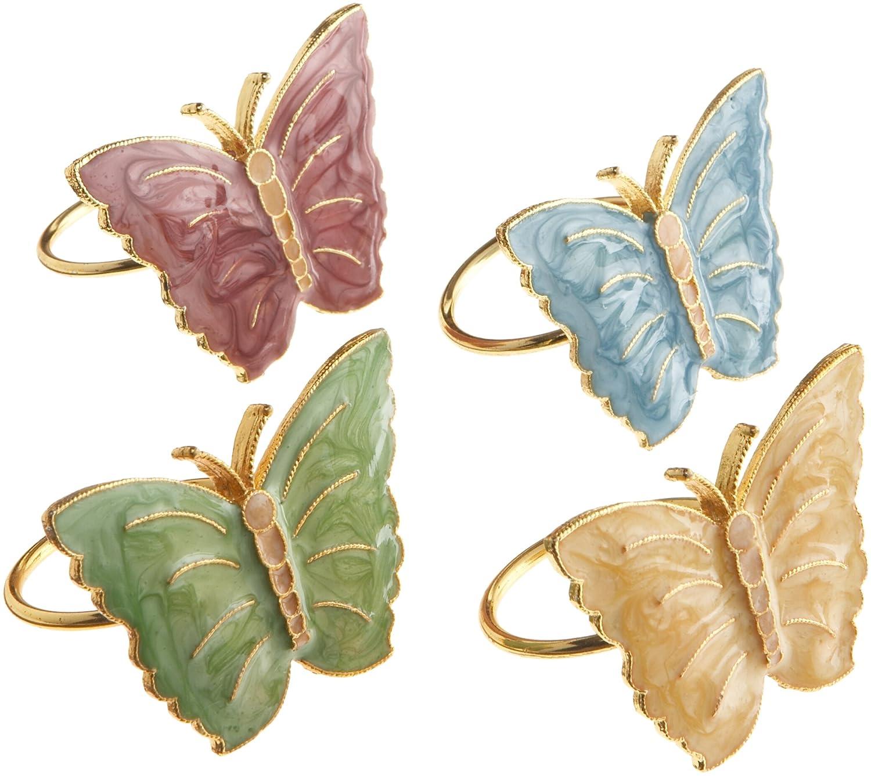 amazon com lenox butterfly meadow napkin rings set of 4 multi