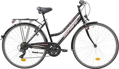 F.lli Schiano Voyager Bicicleta Trekking, Womens, Negro-Rojo, 28 ...