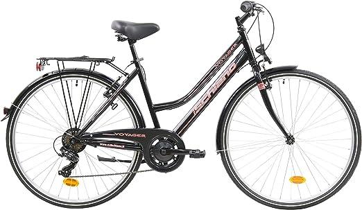F.lli Schiano Voyager Bicicleta Trekking, Womens, Negro-Rojo, 28: Amazon.es: Deportes y aire libre