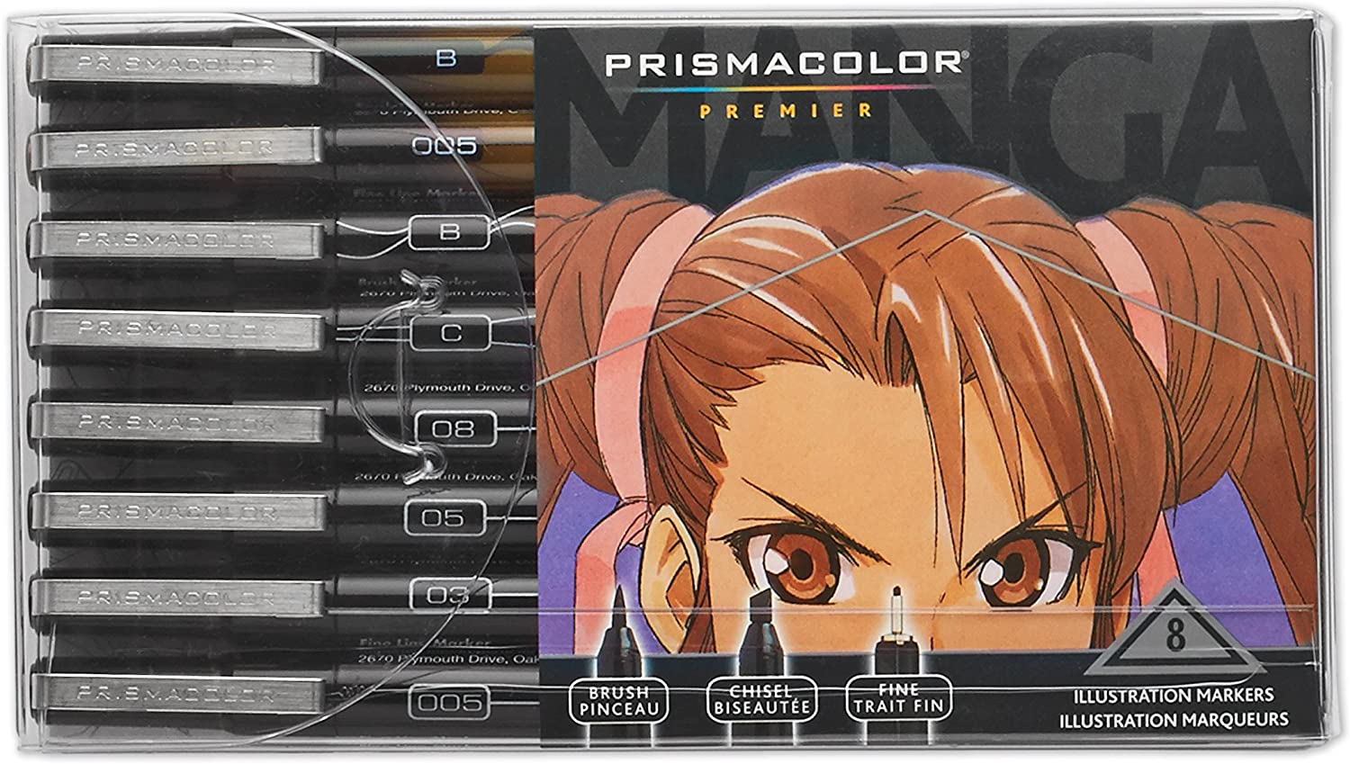 Amazon Com Prismacolor Premier Manga Illustration Markers Assorted Tips Black Sepia 8 Count Permanent Markers Office Products