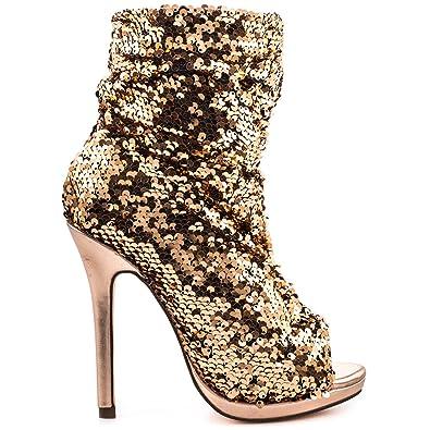 3d26a74b68c Lauren Lorraine Marlow Rose Gold Sequin Peep Toe High Heel Sexy Dress Bootie  (5.5