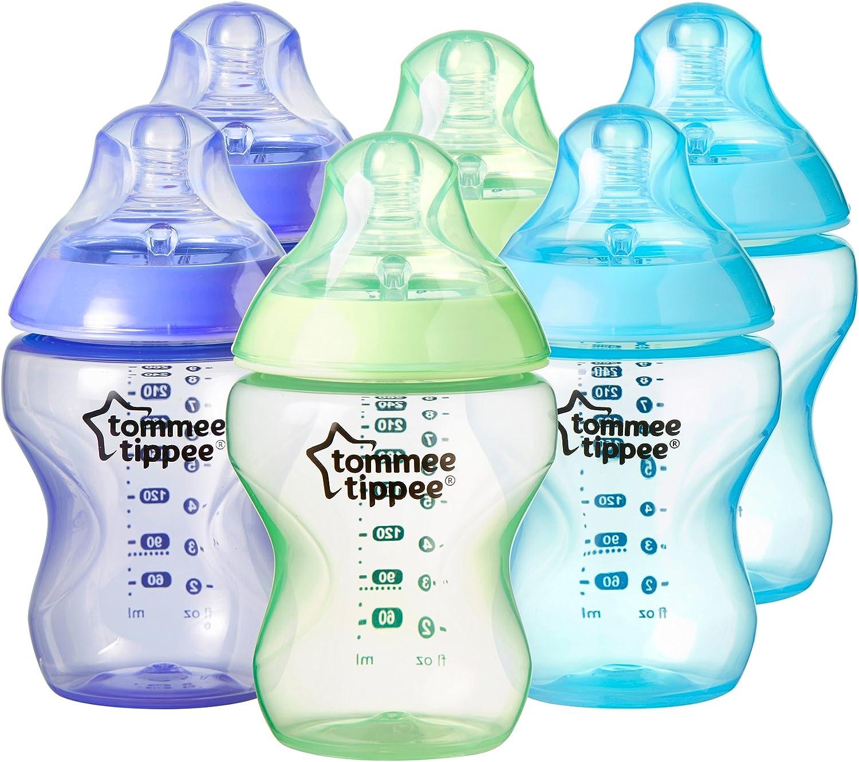 Tommee Tippee - Kit de 6 biberones de plástico, 260 ml, color azul ...