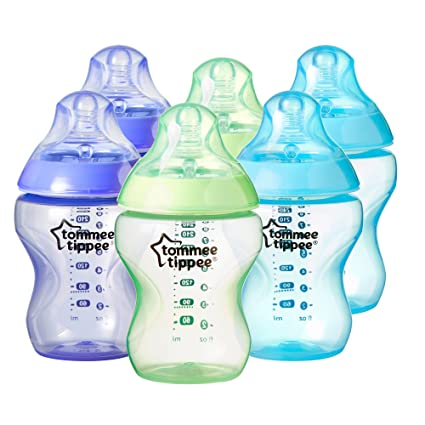 Tommee Tippee - Kit de 6 biberones de plástico, 260 ml, color azul (