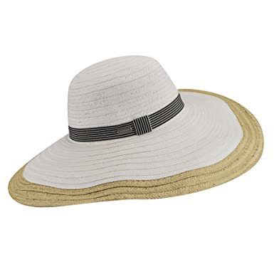 428d5ec8f946e Betmar Women Lora Braided Floppy Wide Brim Hat White Natural One Size Fits  Most