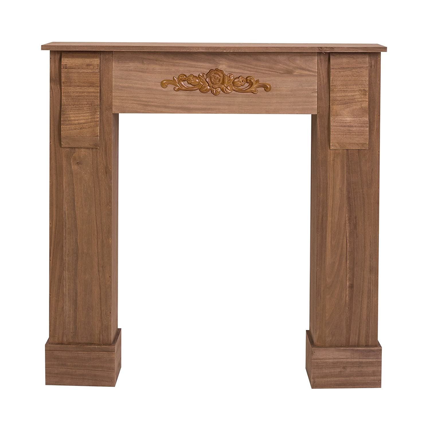Rebecca srl Mantelpiece Surround Fire in wood brown floral decoration in relief shabby vintage (Cod. 0-1934) RE4447