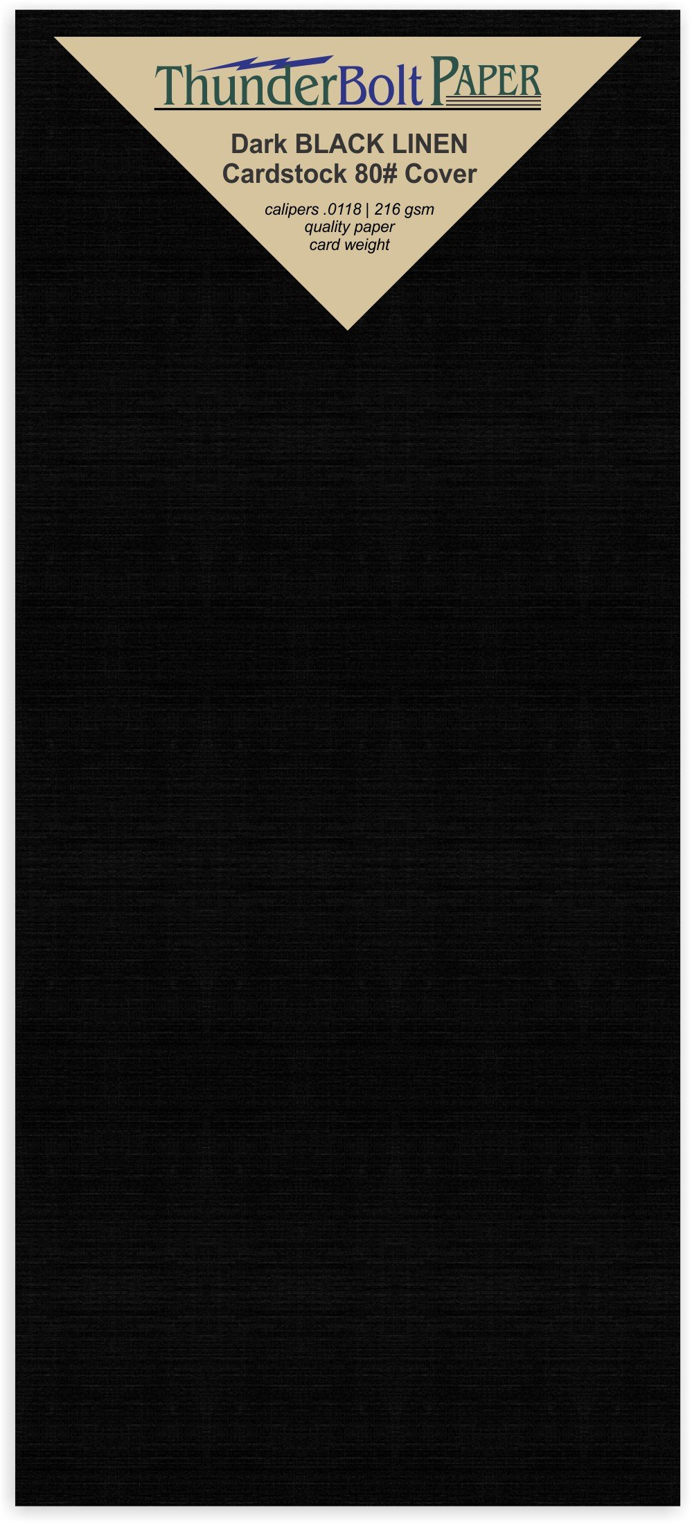 250 Black Linen 80# Cover Paper Sheets - 4'' X 9'' (4X9 Inches) #10 Envelope Insert Size - Card Weight - Deep Dye, Fine Linen Textured Finish - Quality Cardstock