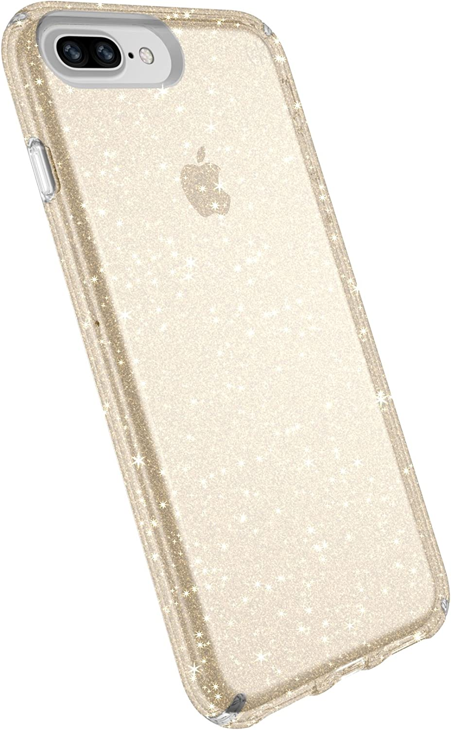 Speck Products Presidio Clear & Glitter Cell Phone Case for iPhone 8 Plus - Clear with Gold Glitter