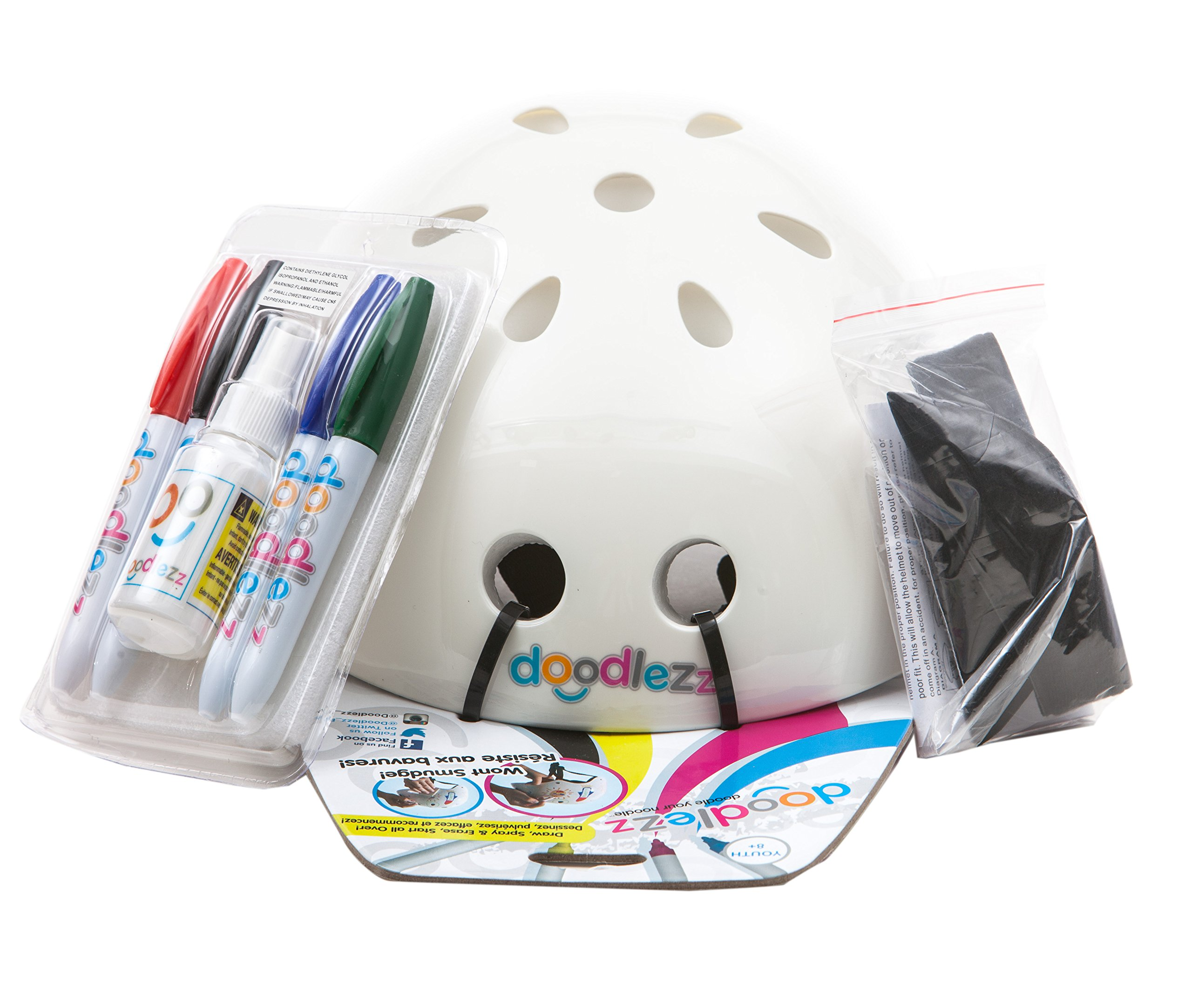 Doodlezz Draw Spray & Erase Skateboard Helmet for Youth 8 years and up, Includes Set of Erasable Markers for Drawing on the Helmet