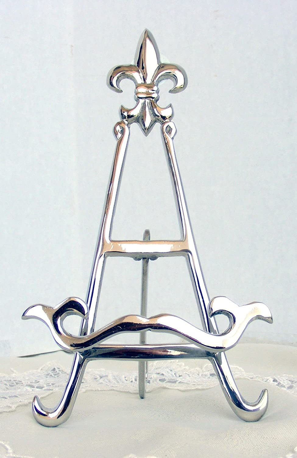 Nickel 9 Easel with Fleur De Lis Tarnish Resistant Finish 4098