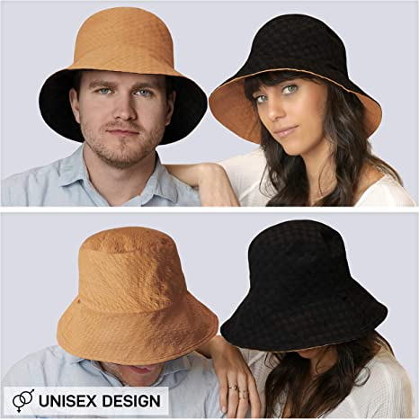 Opromo Men Women Bucket Hat Reversible Foldable Fisherman Hat for Summer Outdoor