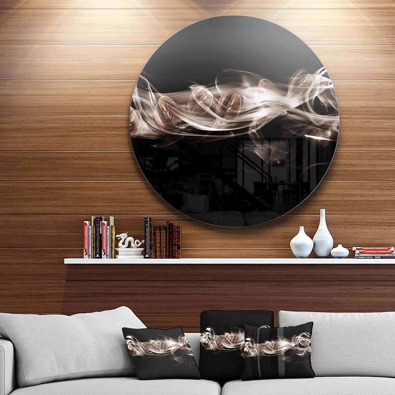 Designart Wall Art Disc of 23 inch 23 H x 23 W x 1 D 1P Brown//White