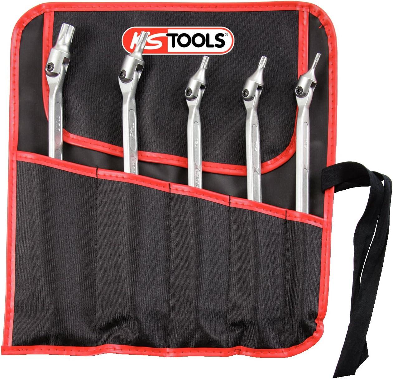 KS Tools 517.0320 Pack Llaves articuladas Dobles de Perfil E Torx, en Bolsa Enrollable, T15xT20-T55xT60, 5pcs, Set de 5 Piezas