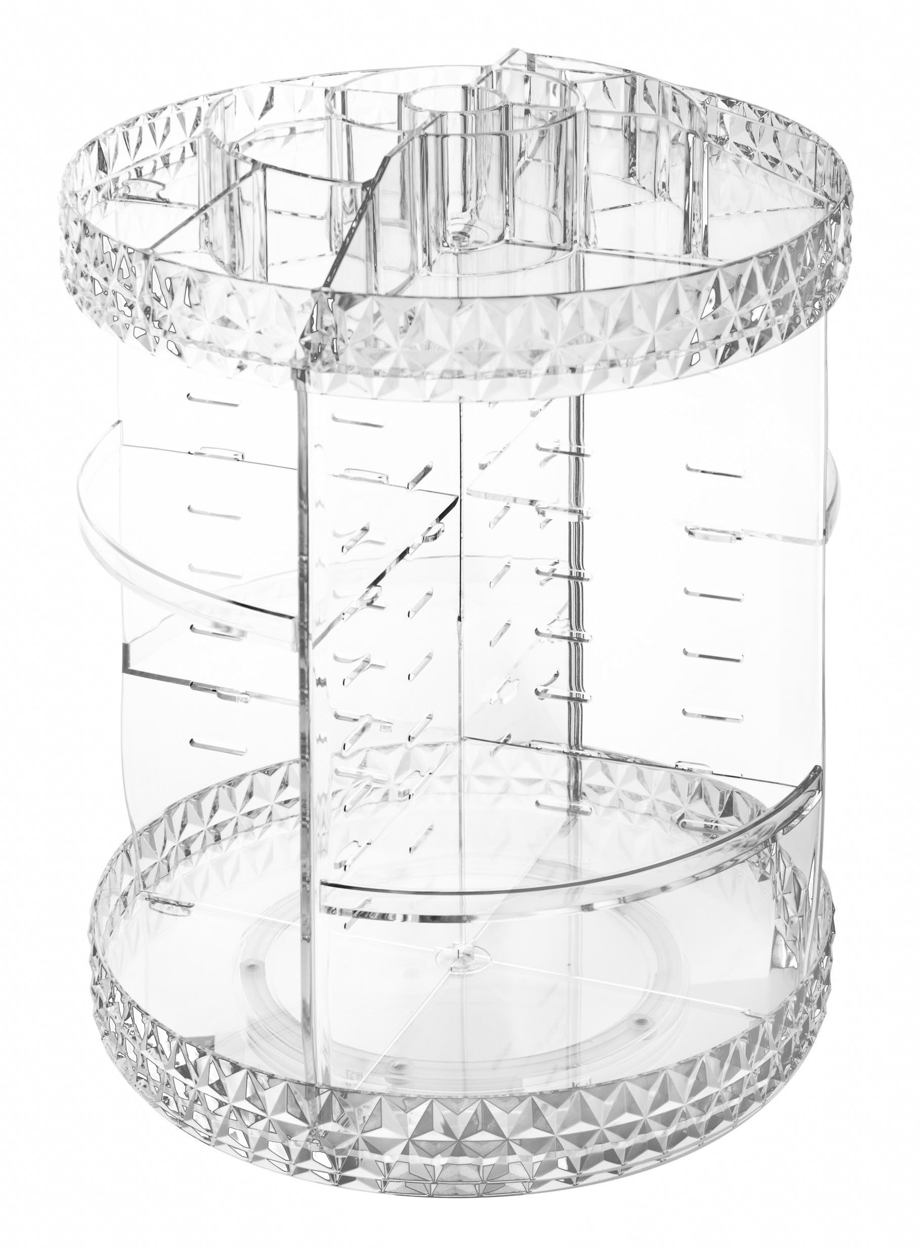 Sodynee XL Acrylic Makeup Cosmetic Organizer Storage, 360-Degree Rotating Adjustable Shelves