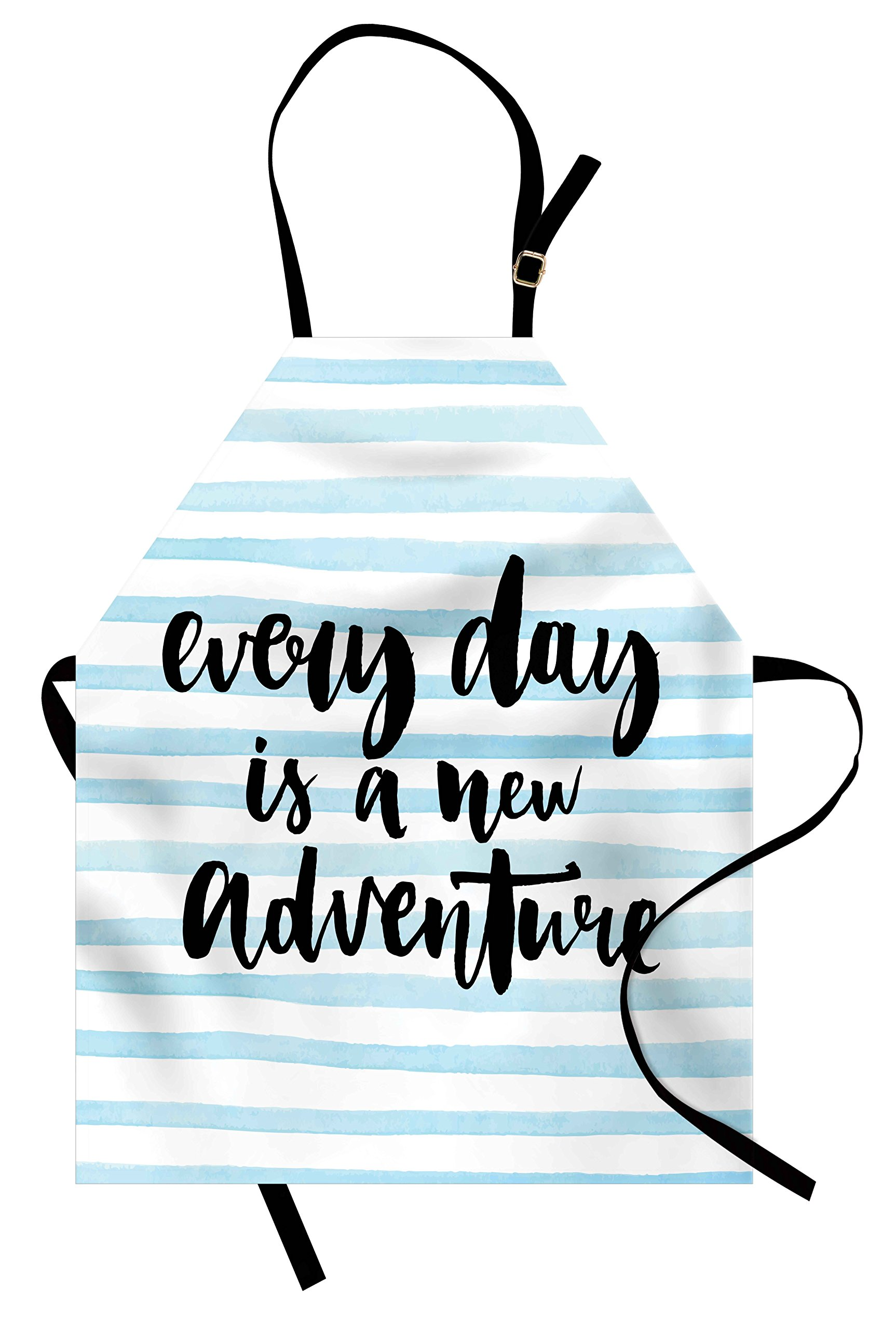 Ambesonne Adventure Apron, Every Day is a New Adventure Quote Inspirational Things About Life Artwork, Unisex Kitchen Bib Apron with Adjustable Neck for Cooking Baking Gardening, Baby Blue Black