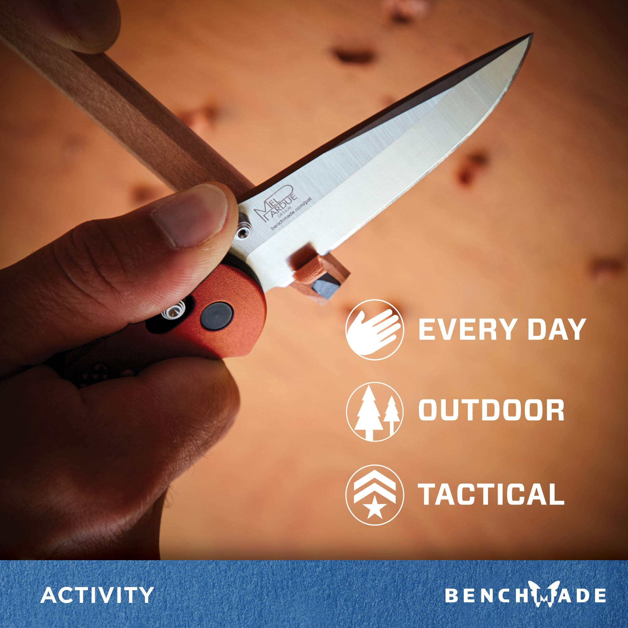 Benchmade - Griptilian 551 Knife with CPM-S30V Steel, Drop-Point Blade, Plain Edge, Satin Finish, Orange Handle by Benchmade (Image #4)