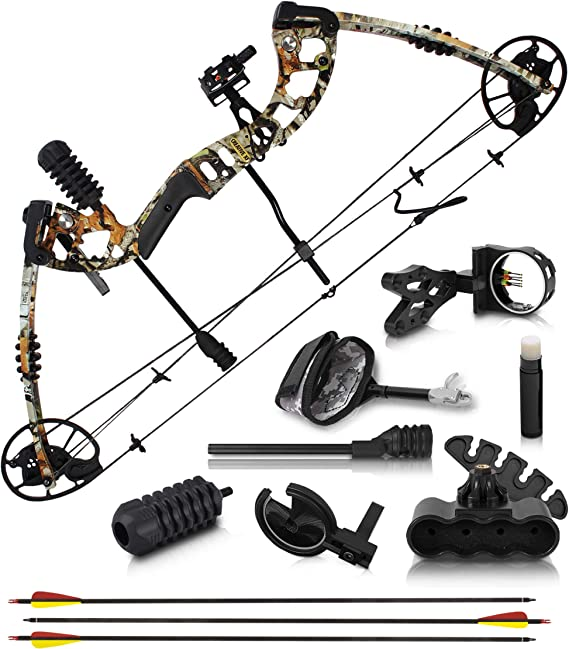 "2020 Compound Bow and Arrow for Adults and Teens – Hunting Bow with Gordon Limbs Made in USA - Fully Adjustable for Women and Youth 30-70 LBS, 23.5-30.5"" - 320 FPS Speed – 5-Pin Sight, Quiver"
