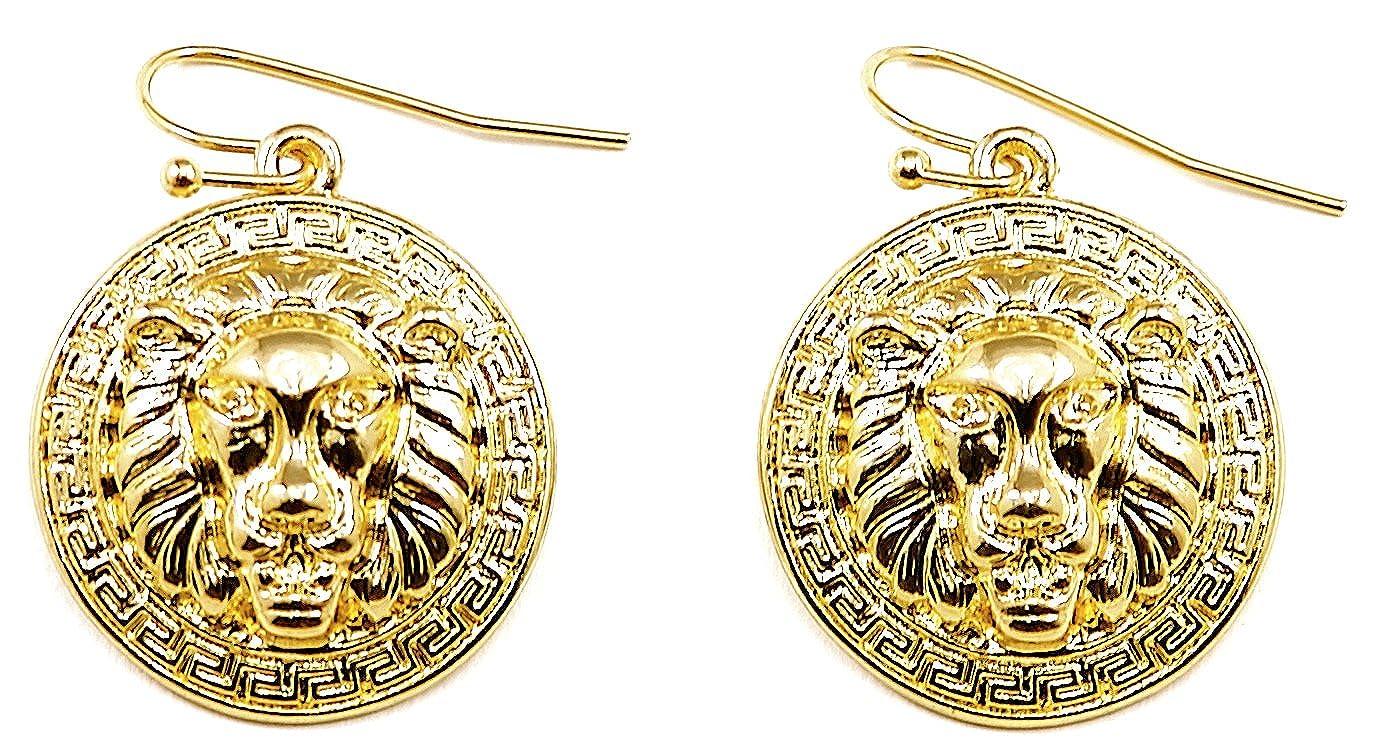 GWOOD Lion Medusa Gold Color Smaller Pendant Dangle Earrings