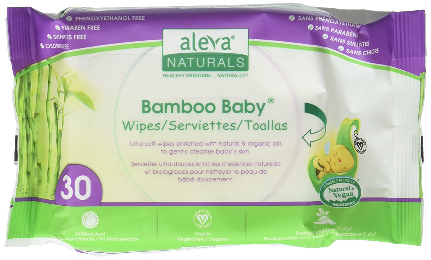 Aleva Naturals, Bamboo Baby Wipes, Scented, 30 Wipes 37941