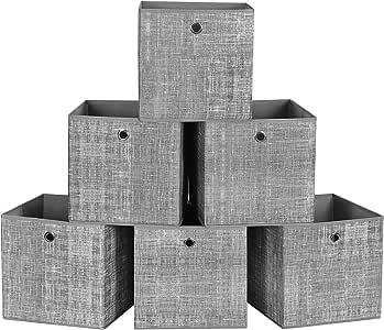 SONGMICS Cajas de Almacenamiento, Juego de 6 Cubos de Almacenamiento Plegables de Tela no Tejida, Organizadores de Ropa, Juguete, Gris Brezo RFB02LG-3: Amazon.es: Hogar