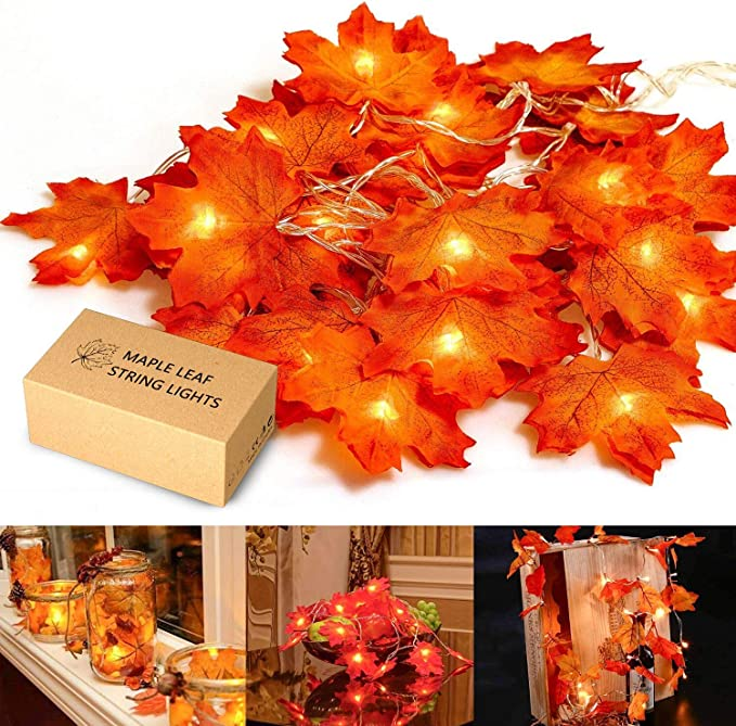 MUSCCCM Christmas Decorations, MiMoo Maple Leaf String Lights, 20LED 7.2ft Battery Powered Harvest Fall Garlands String Light