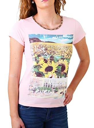 77c9ced719a583 Madonna T-Shirt Damen TIRIL Rundhals mit Perlen Sunflower Print Shirt  MF-406981  Amazon.de  Bekleidung
