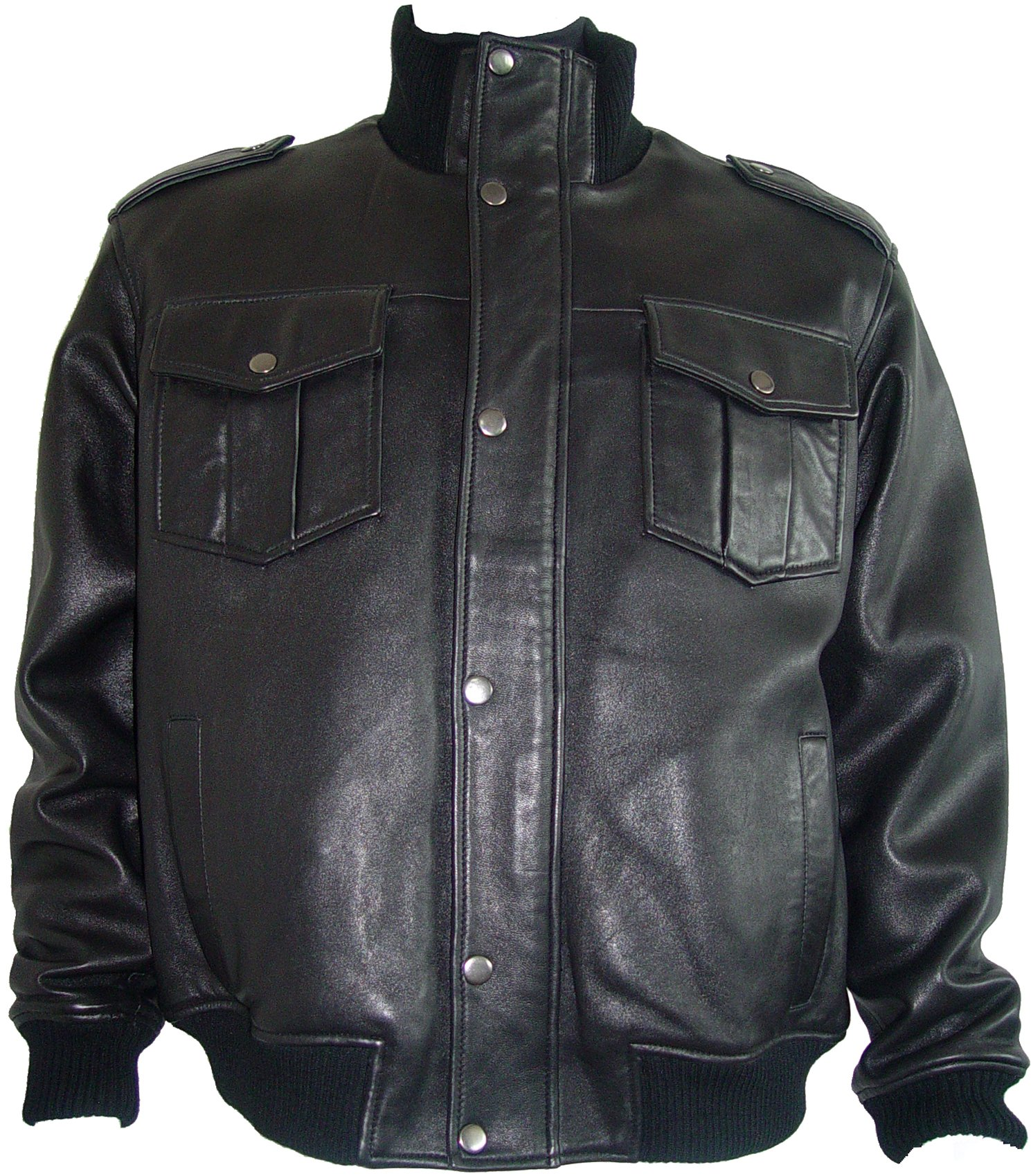 Paccilo 1010 Fine Urban Black Leather Mens Jackets Big Size 4XL