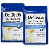 Dr. Teal's Epsom Salt Soaking Solution, Soften & Nourish with Milk and Honey, 48oz, Pack of 2