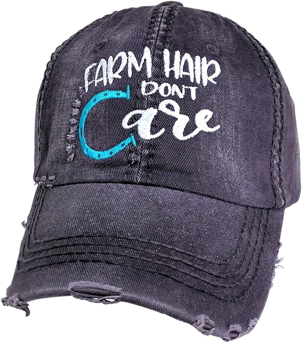 Loaded Lids Women's Farm Hair Don't Care Embroidered Baseball Cap
