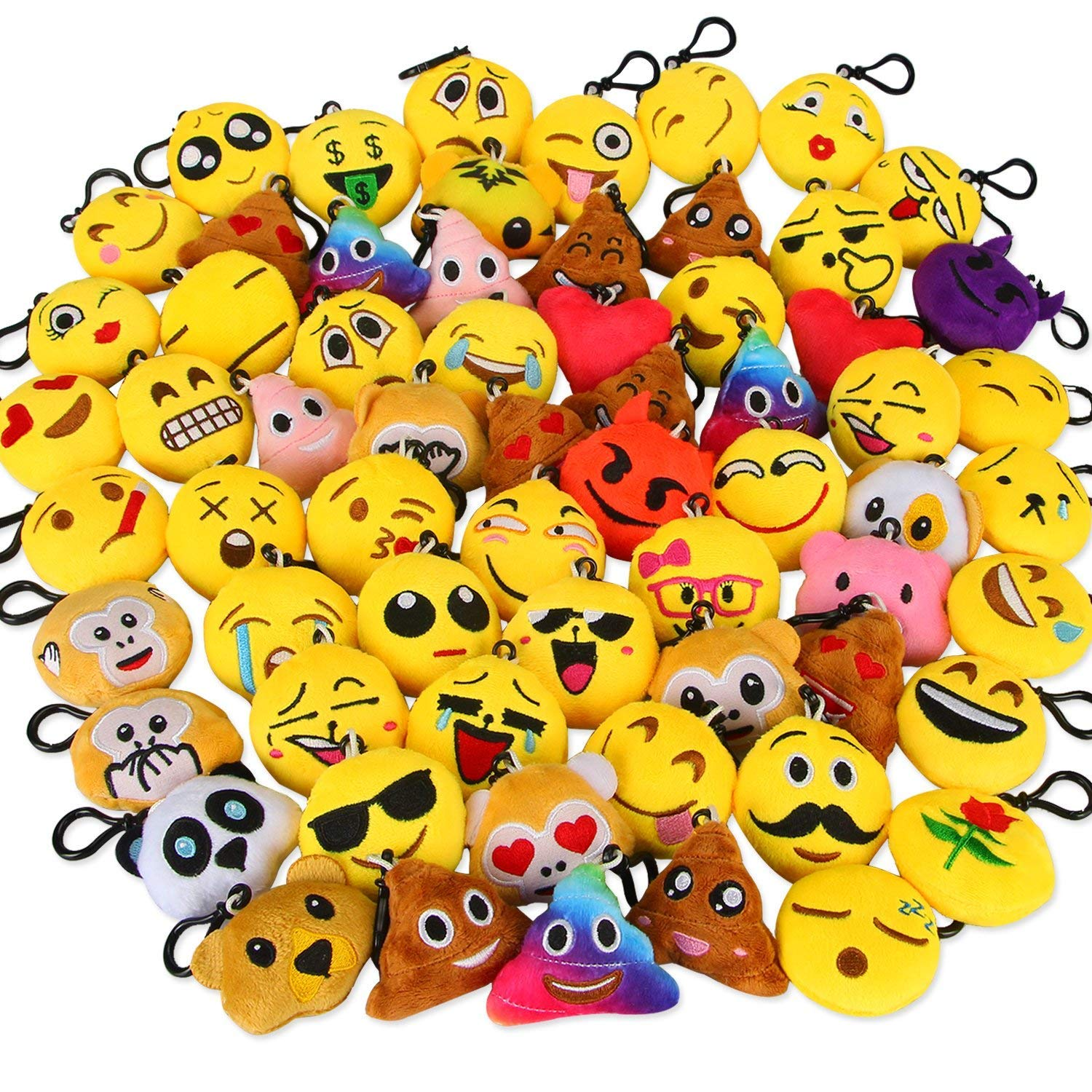 Dreampark Emoji Keychain Mini Cute Plush Pillows, Party Favors for Kids Christmas / Birthday Party Supplies, Emoticon Gifts Toys Carnival Prizes for Kids School Classroom Rewards (64 Pack) by Dreampark