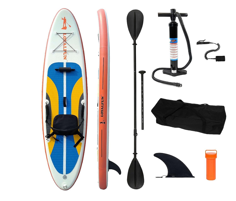 Loyal FUN Sup hinchable Stand Up Paddle Board Set con bomba de alta presión de 2 piezas de conversión Remo para canoa y kayak Asiento, seguridad cuerda, ...