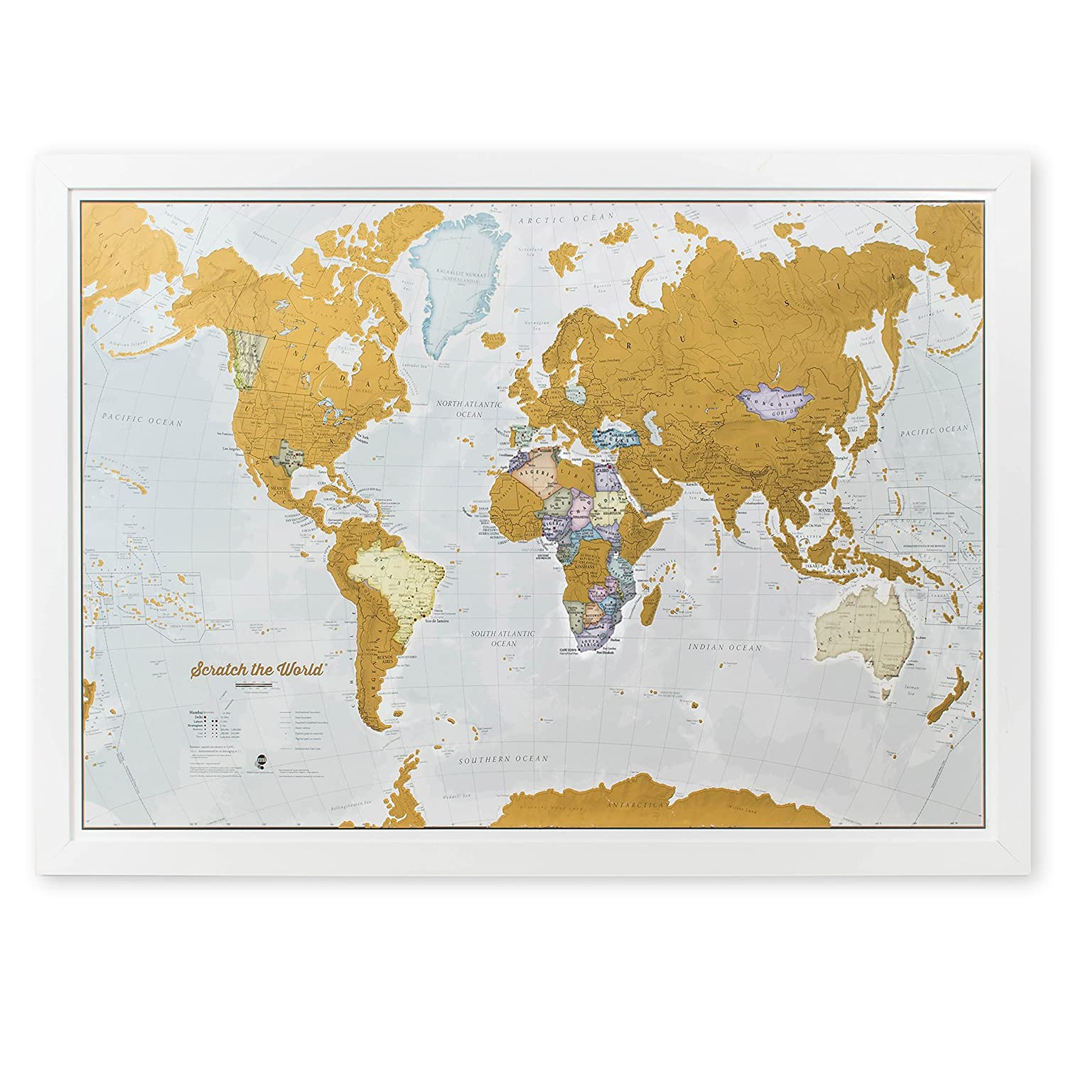 Maps International Scratch The World Travel Map – Scratch Off World Map Poster – Most Detailed Cartography - 33 x 23