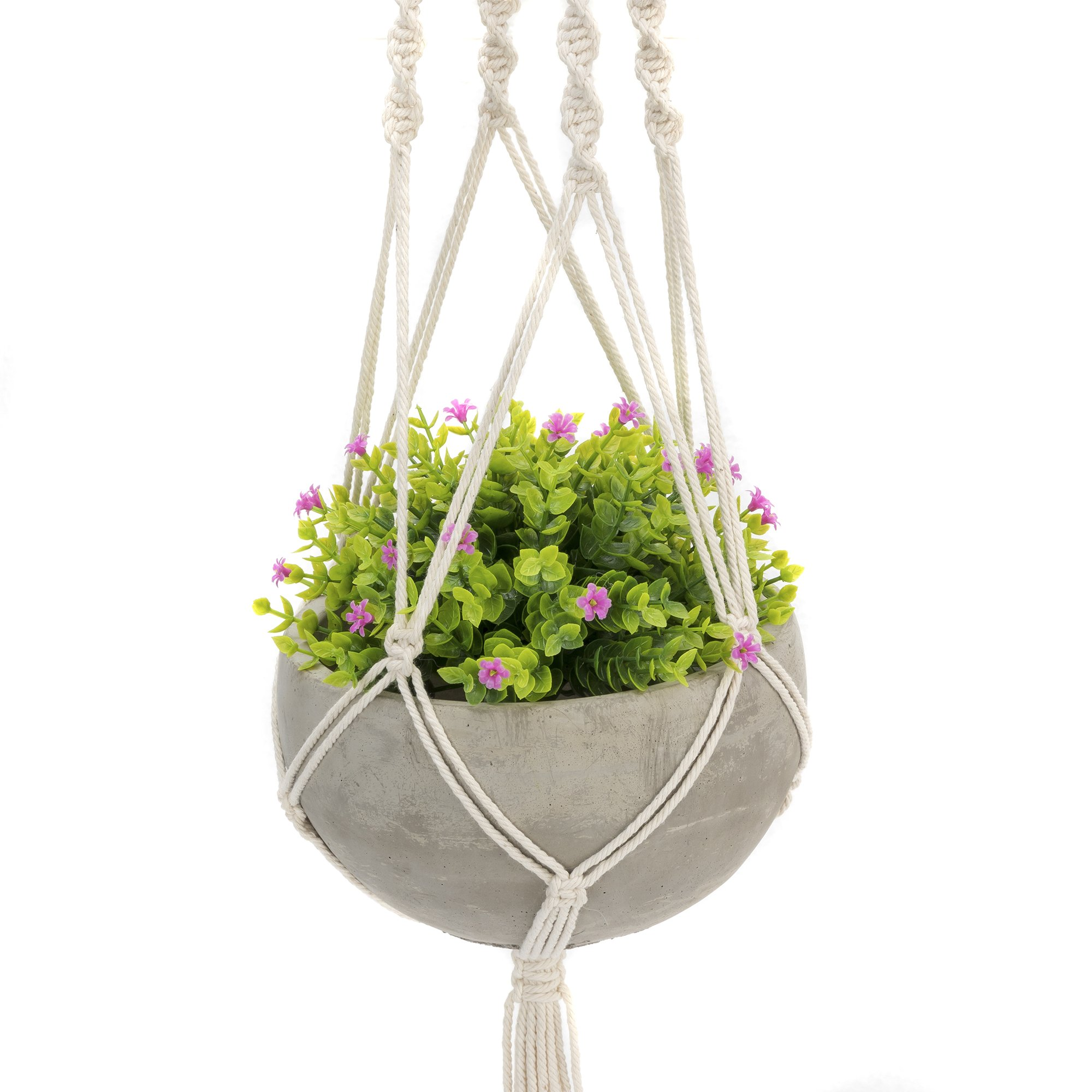 Nattol Hanging Succulent Planter, Cement Planter Includes Handmade Weave Macramé for Easy Design and Beautiful Accents