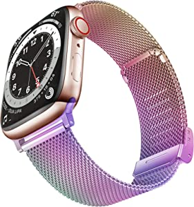 Geoumy Bands Compatible with Apple Watch Band 38mm 40mm, Stainless Steel Milanese Mesh Loop Replacement Men Women Strap for iWatch Series SE/6/5/4/3/2/1,Colorful
