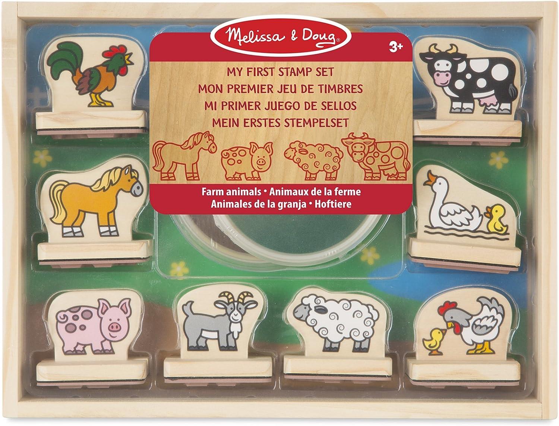 Melissa & Doug-Mi Primer Juego De Sellos Animales de La Granja, Multicolor (12390)