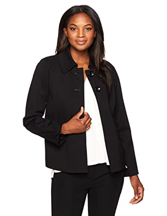 6ac680880aa Amazon.com  Kasper Women s Compression Ponte 2 Button Collared Jacket   Clothing