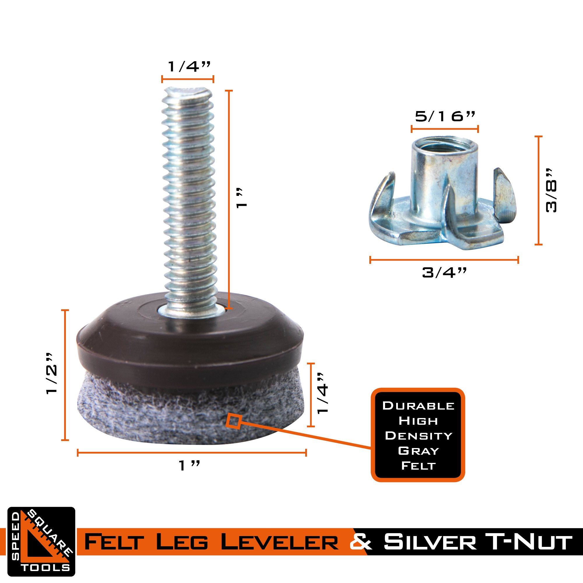 Furniture Levelers | Heavy Duty & Integrated High-Density Felt | Fully Threaded Adjustable Height 0.5'' to 1.25'' | Great Glide Pads for Home, Office, DIY, Restaurant, Café | 12 Pack by SpeedSquare Tools (Image #2)